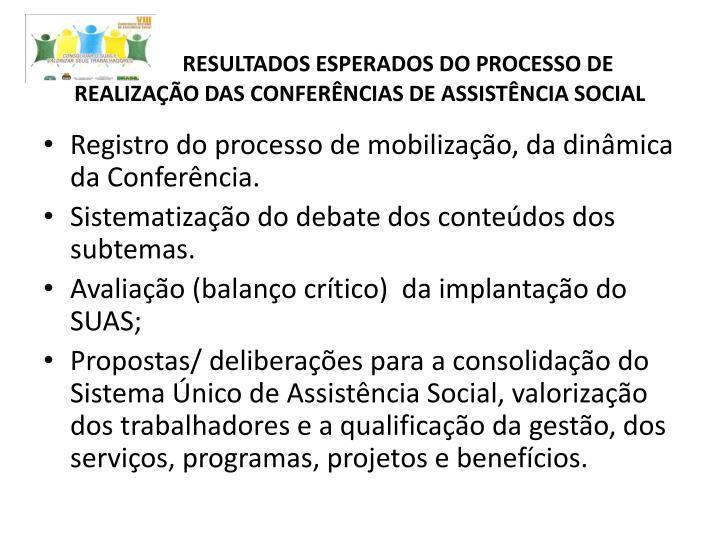RESULTADOS ESPERADOS DO PROCESSO DE REALIZAÇÃO DAS CONFERÊNCIAS DE ASSISTÊNCIA SOCIAL