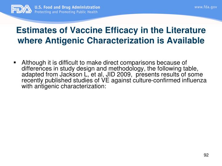 Estimates of Vaccine Efficacy in the Literature where Antigenic Characterization is Available