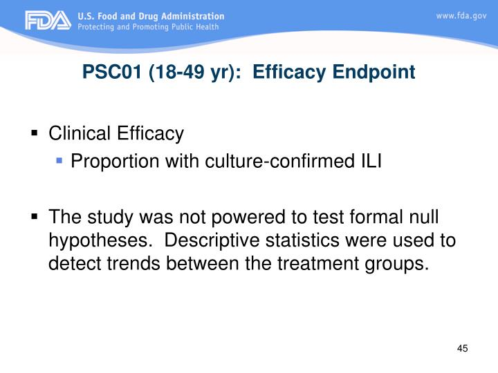 PSC01 (18-49 yr):  Efficacy Endpoint