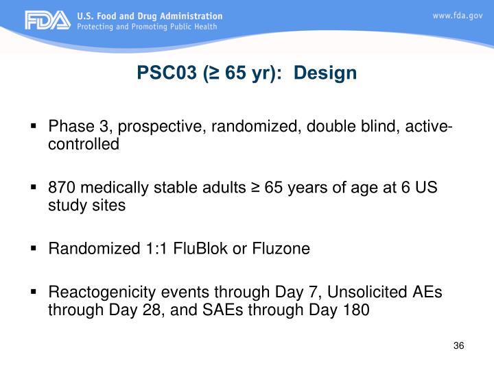 PSC03 (≥ 65 yr):  Design