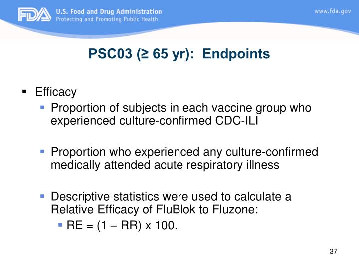 PSC03 (≥ 65 yr):  Endpoints
