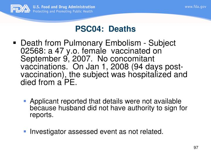 PSC04:  Deaths