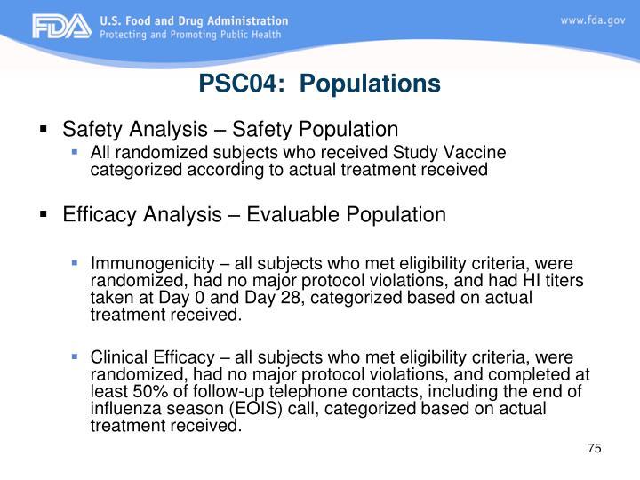 PSC04:  Populations