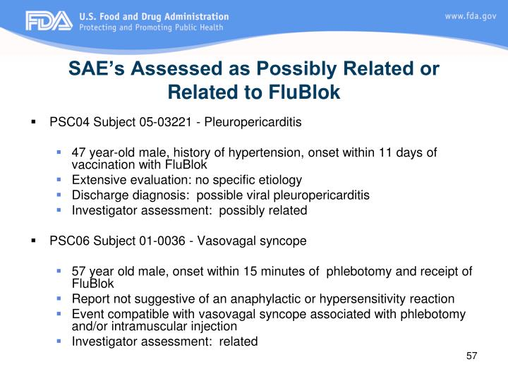 SAE's Assessed as Possibly Related or Related to FluBlok