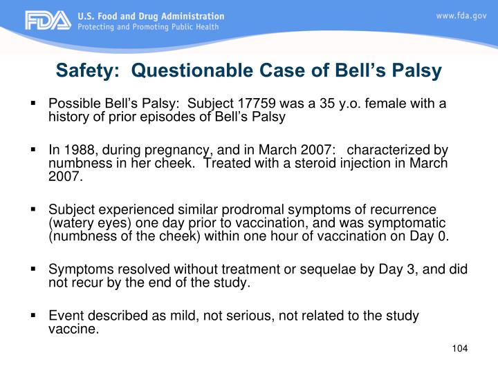 Safety:  Questionable Case of Bell's Palsy