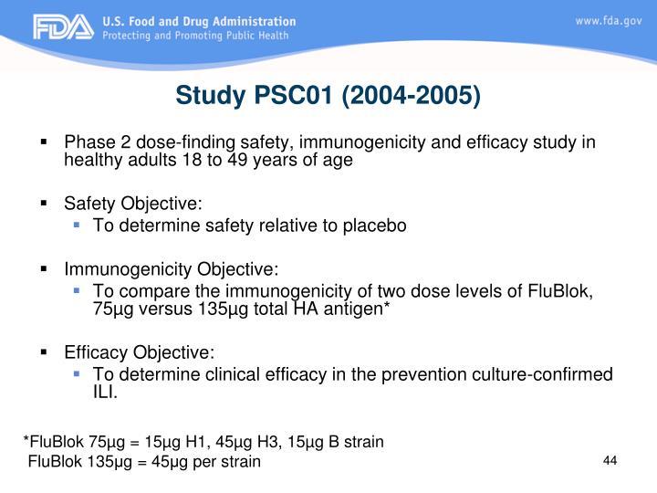 Study PSC01 (2004-2005)