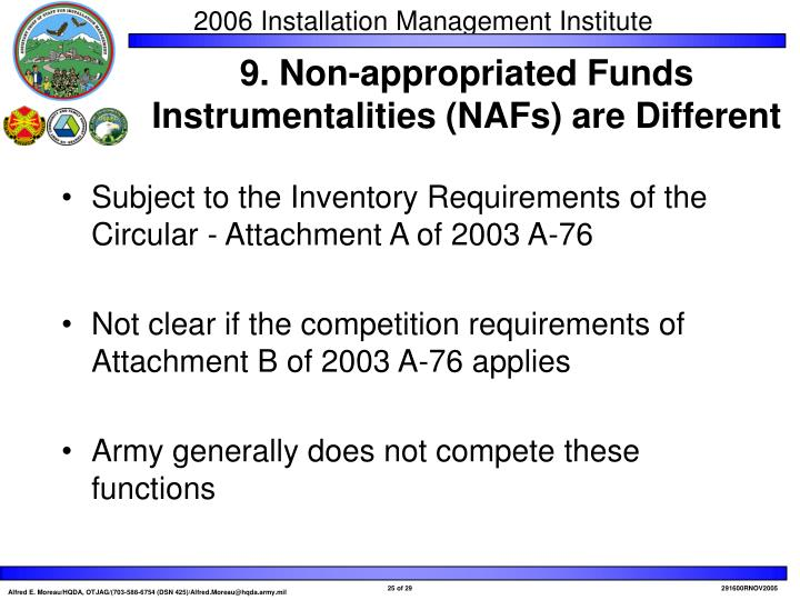 Subject to the Inventory Requirements of the Circular - Attachment A of 2003 A-76