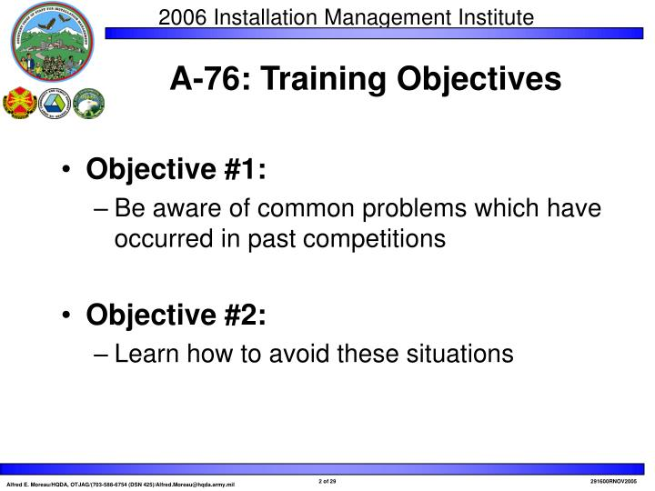 A 76 training objectives