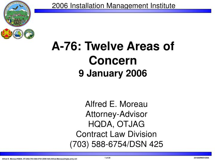 A 76 twelve areas of concern 9 january 2006