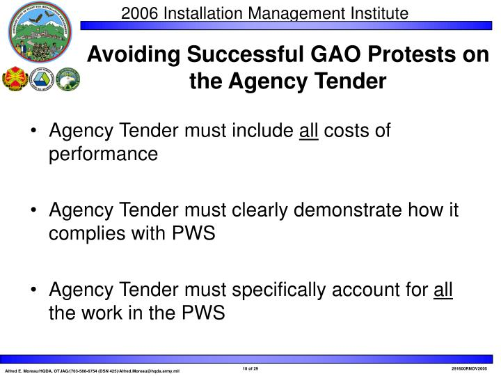 Agency Tender must include