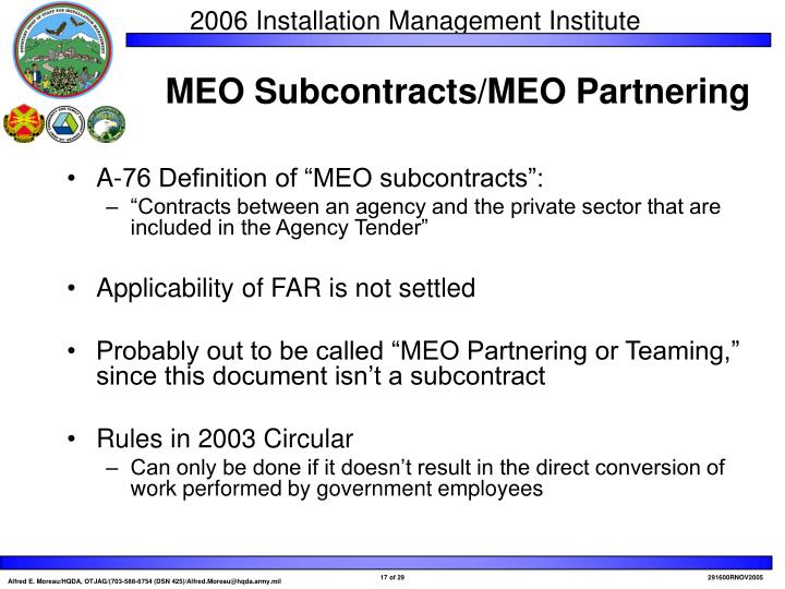"A-76 Definition of ""MEO subcontracts"":"