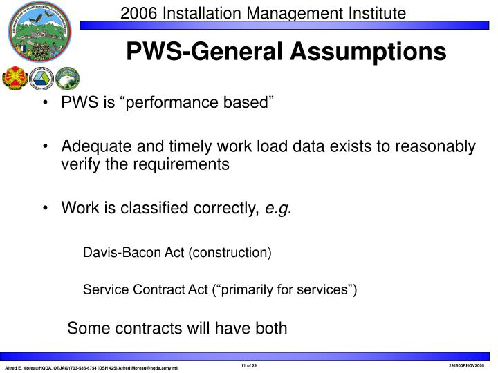 "PWS is ""performance based"""