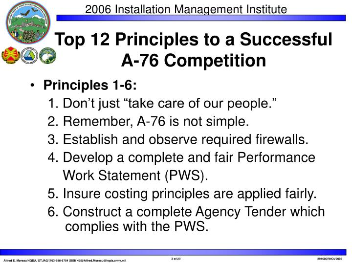Top 12 principles to a successful a 76 competition
