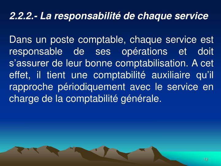 2.2.2.- La responsabilit de chaque service