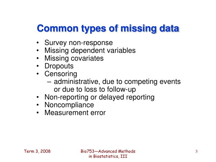 Common types of missing data