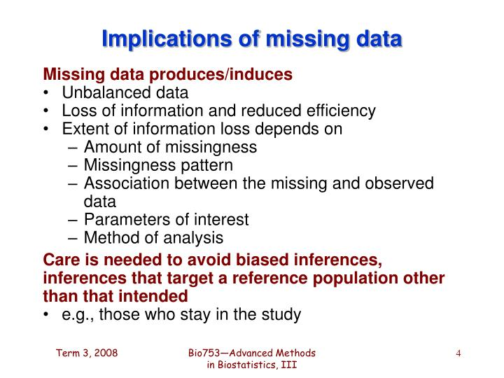 Implications of missing data