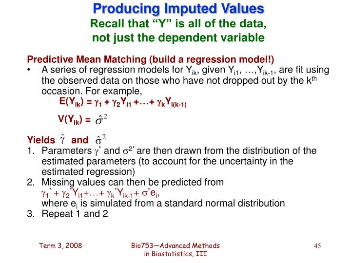 Producing Imputed Values