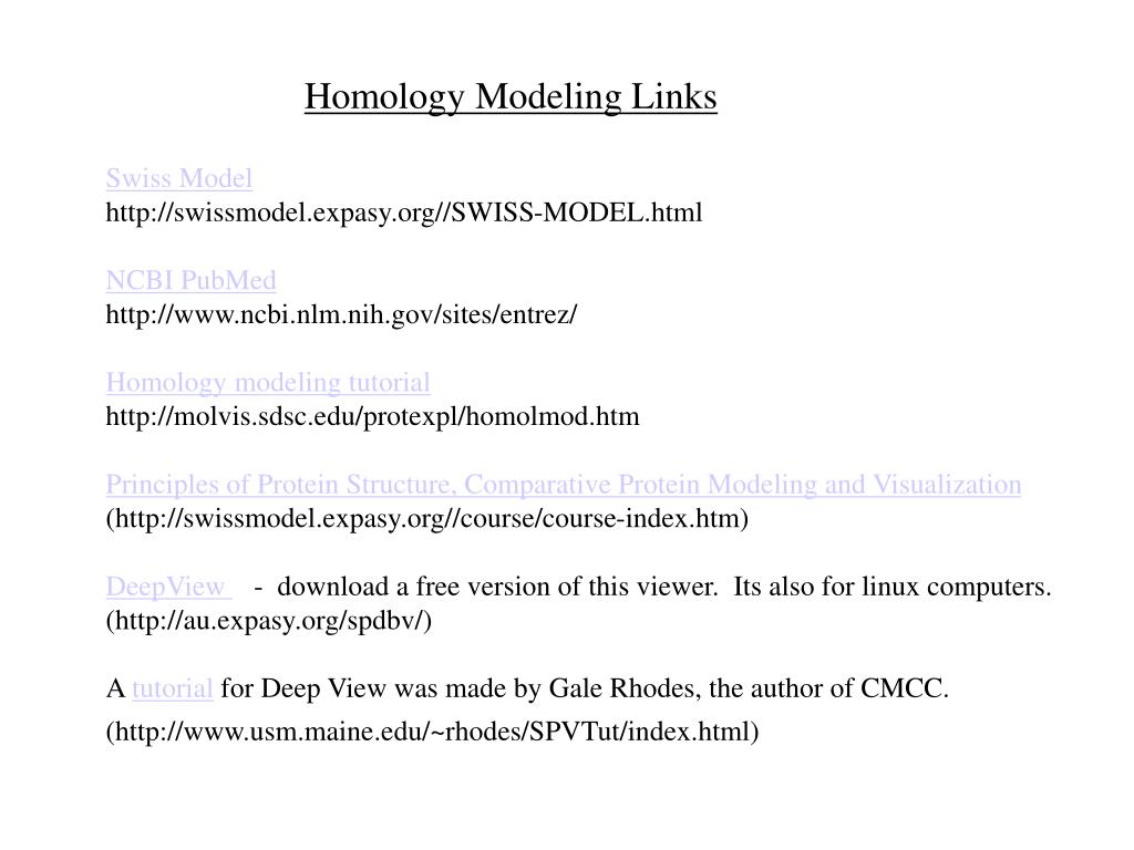Homology Modeling Links