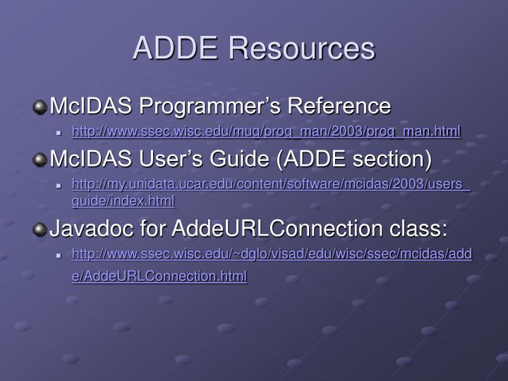 ADDE Resources