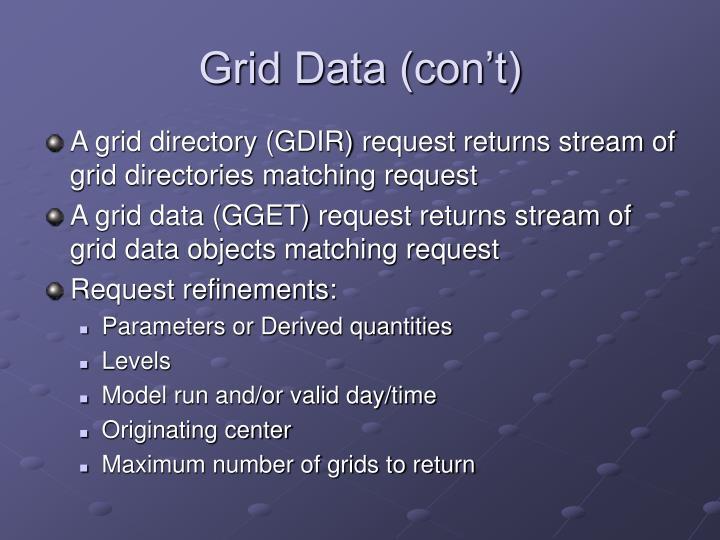 Grid Data (con't)