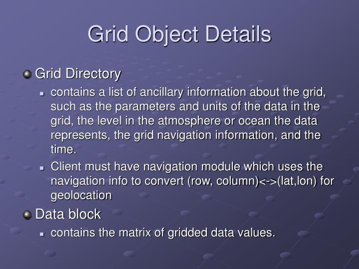 Grid Object Details