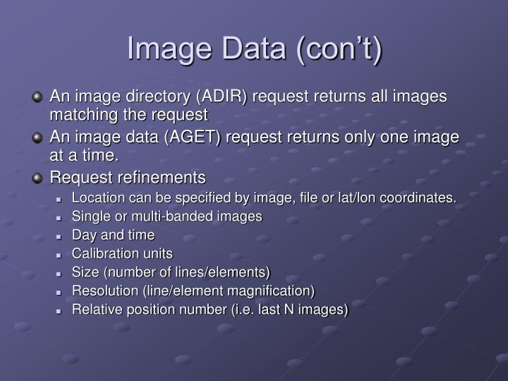 Image Data (con't)