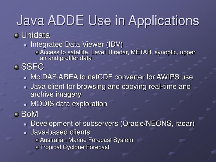 Java ADDE Use in Applications