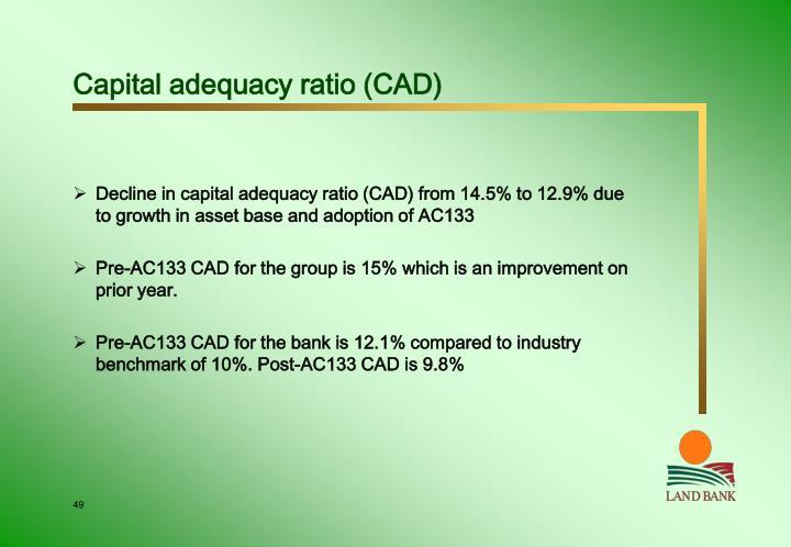 Capital adequacy ratio (CAD)