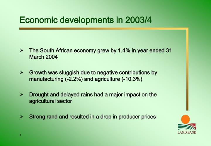 Economic developments in 2003/4