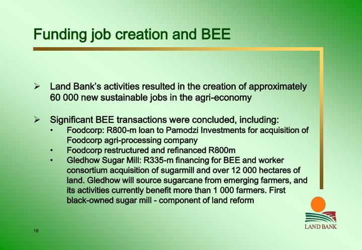 Funding job creation and BEE