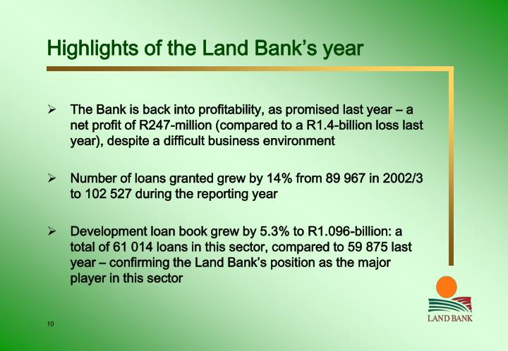 Highlights of the Land Bank's year