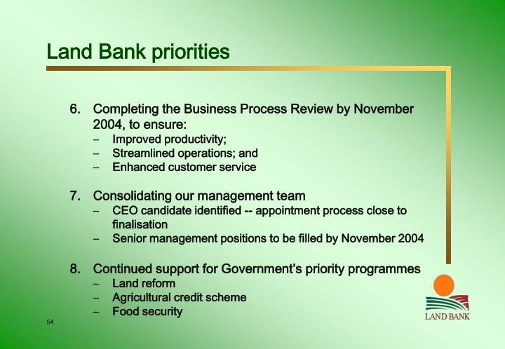 Land Bank priorities