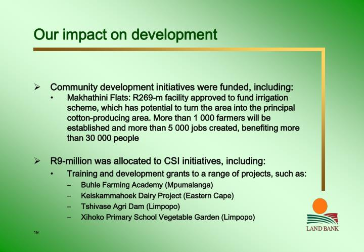 Our impact on development