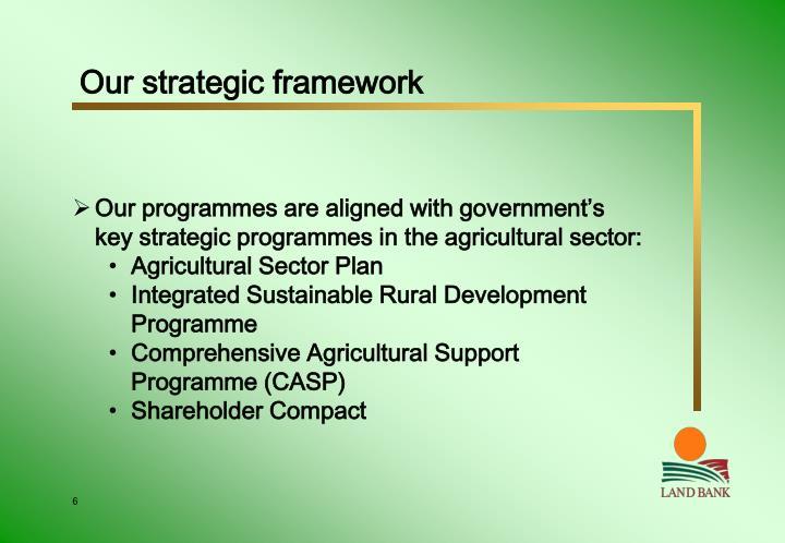 Our strategic framework