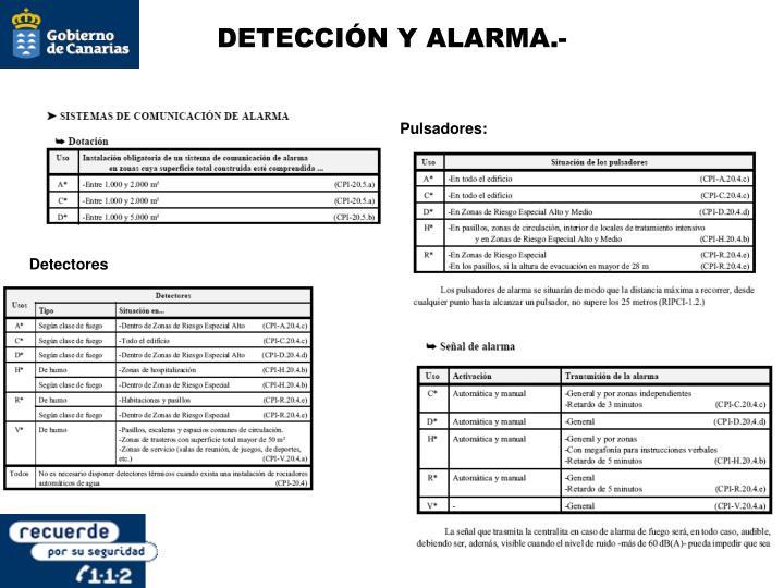 DETECCIÓN Y ALARMA.-