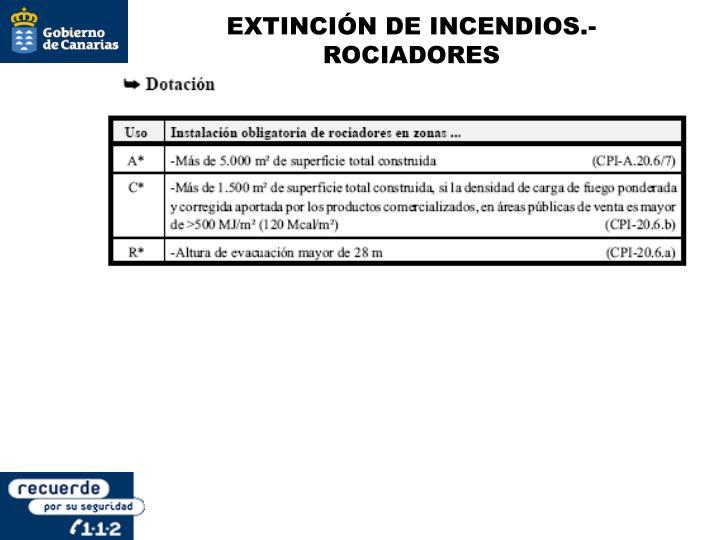 EXTINCIÓN DE INCENDIOS.- ROCIADORES
