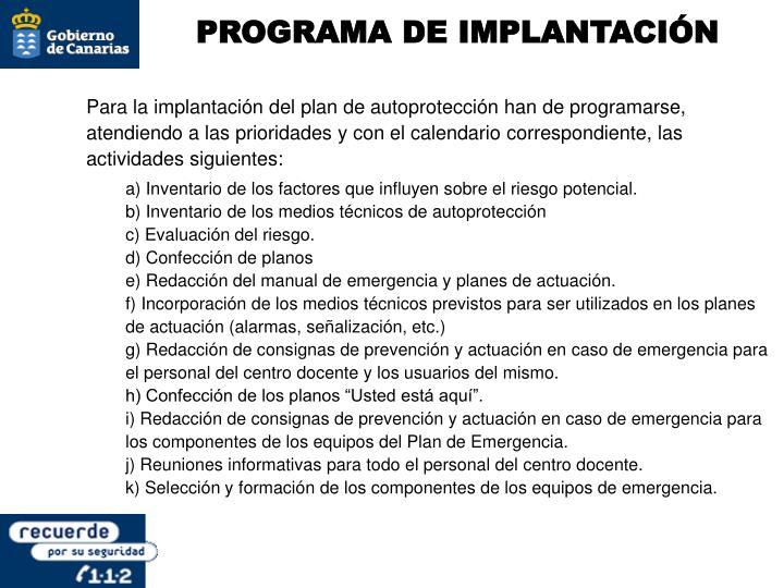 PROGRAMA DE IMPLANTACIÓN