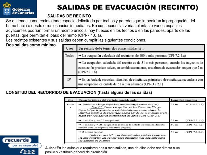 SALIDAS DE EVACUACIÓN (RECINTO)
