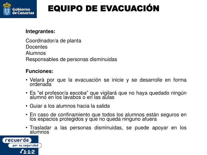EQUIPO DE EVACUACIÓN