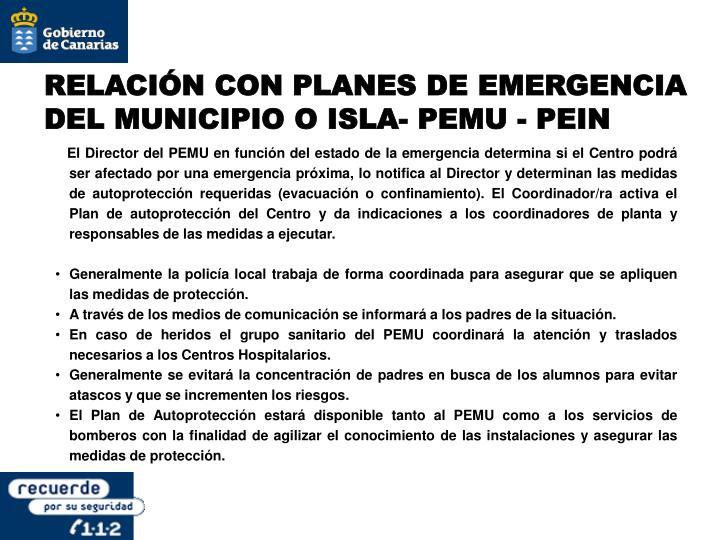 RELACIÓN CON PLANES DE EMERGENCIA