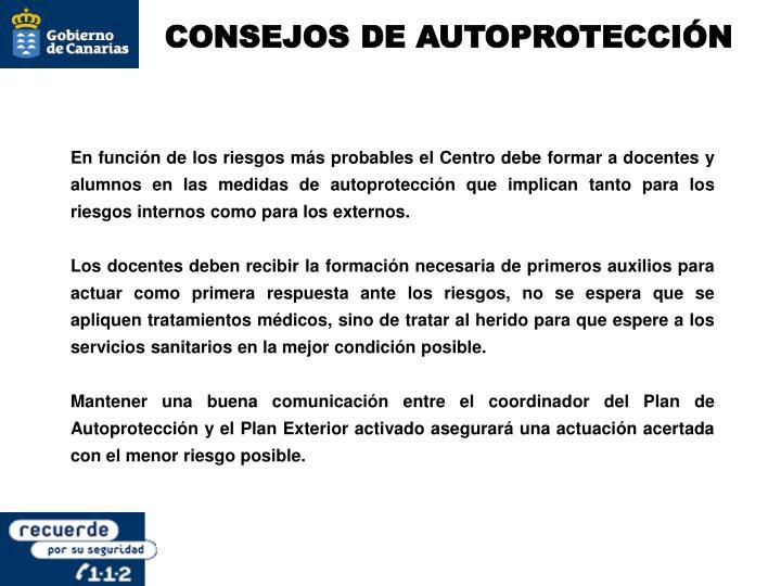 CONSEJOS DE AUTOPROTECCIÓN