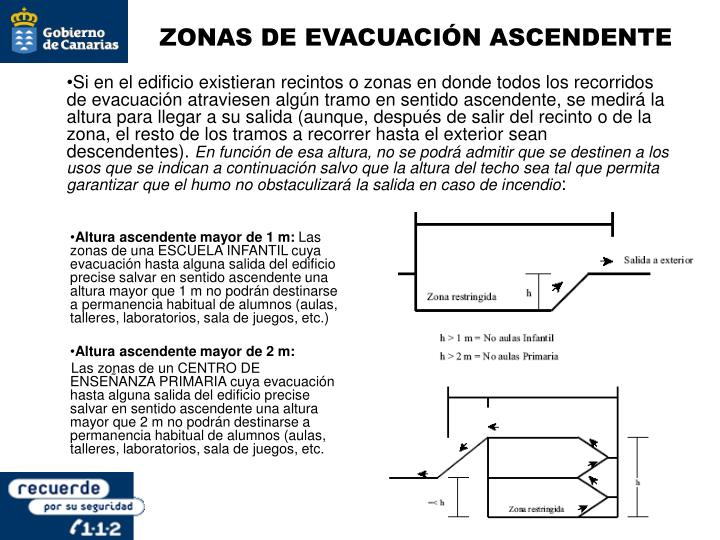 ZONAS DE EVACUACIÓN ASCENDENTE