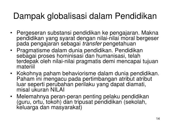 Dampak globalisasi dalam Pendidikan