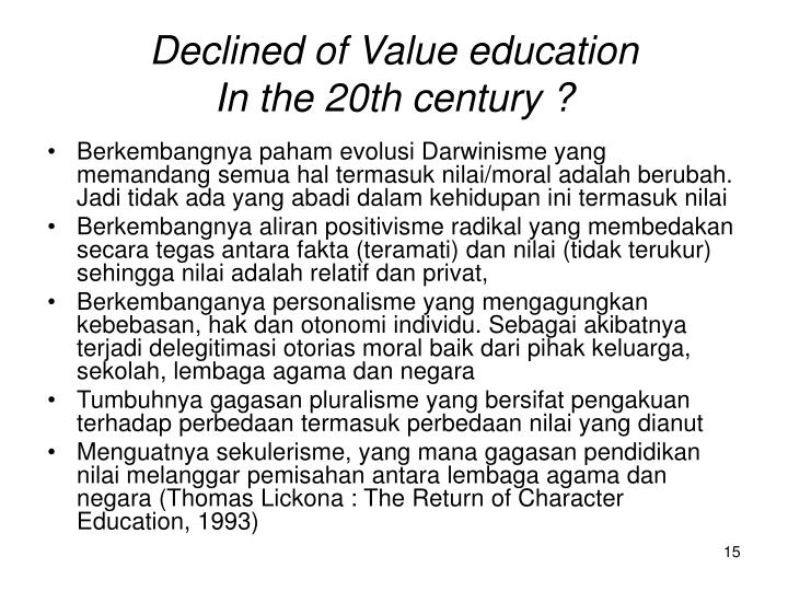 Declined of Value education