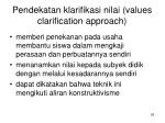 pendekatan klarifikasi nilai values clarification approach