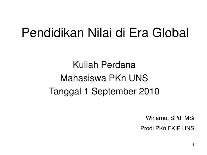 pendidikan nilai di era global