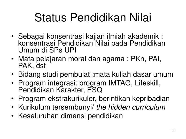 Status Pendidikan Nilai