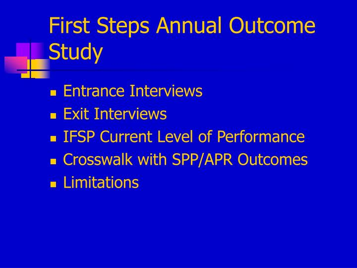First Steps Annual Outcome Study