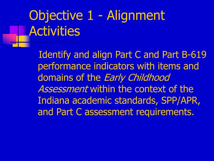 Objective 1 - Alignment Activities