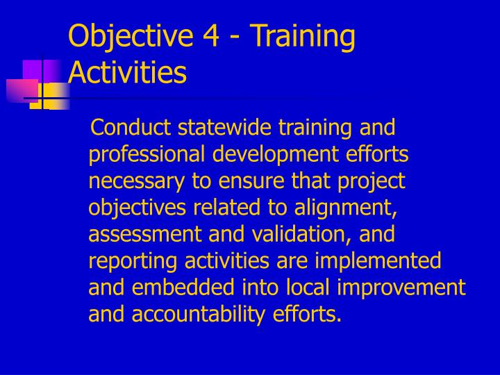 Objective 4 - Training Activities